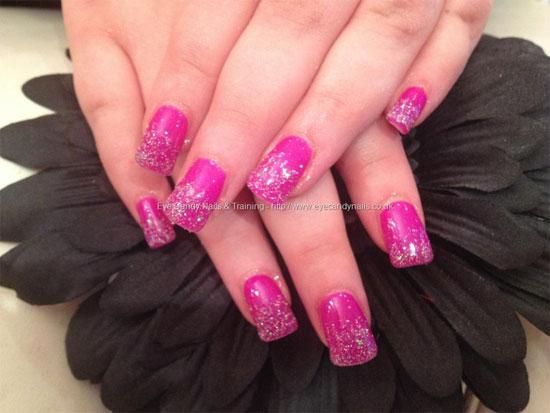 Sparkling Pink Nail Paint Pink Acrylic Nail Art Design