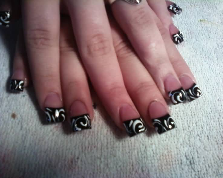 Special Black French Tip Nails On Tip