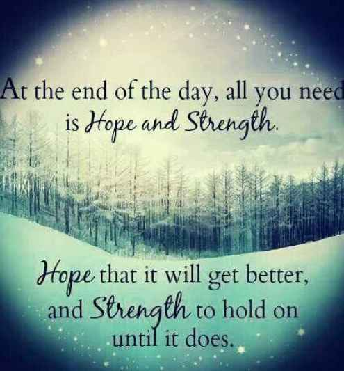 Strength Quotes At The End Of The Day All You Ned Is Hope And Strength