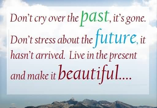 Stress Quotes don't cry over the past, it's gone. don't stress about the future...