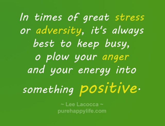 Stress Quotes in times of great stress or adversity, its always best to keep busy o plow your anger and you energy into something positive..