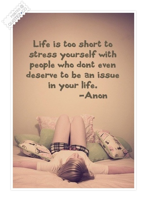 Stress Quotes life is to short to stress yourself with people who don't even deserve to be an issue in your life...