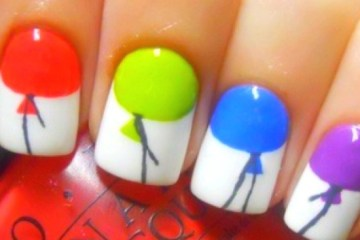 Stunning Ballons With White Tips Happy Birthday Nails