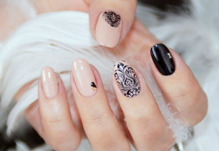 Stunning Black And Beige Nail Art With Awesome Indian Design