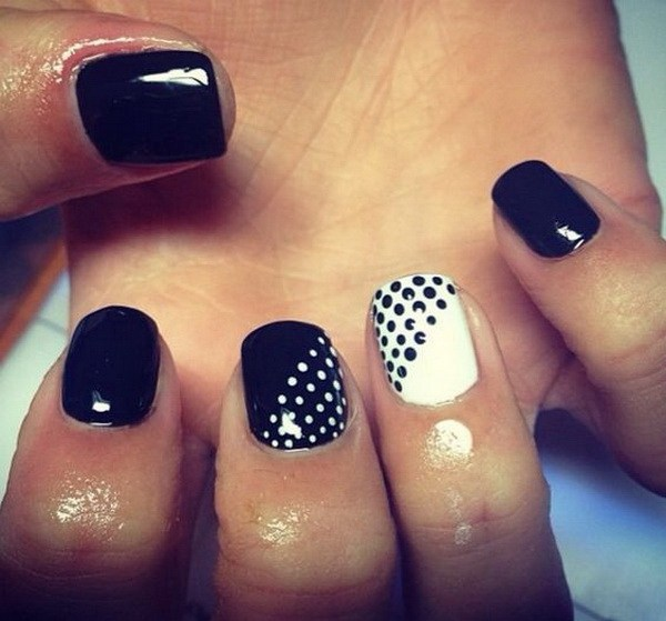 Stunning Black And White Nails With Dotes
