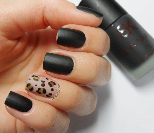 Stunning Black Nail Art With Leopard Design