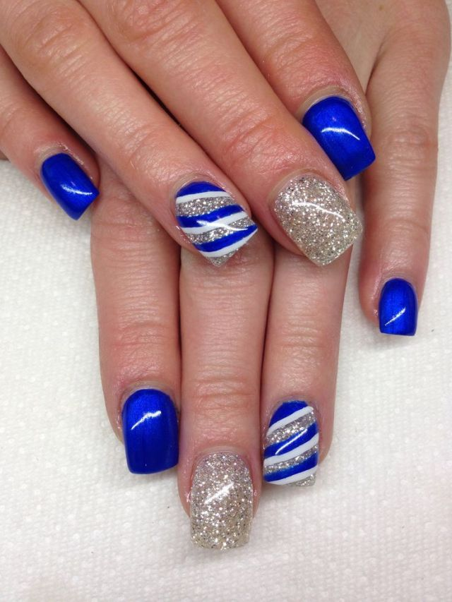 Stunning Blue Nail With Silver Color Nail Paint