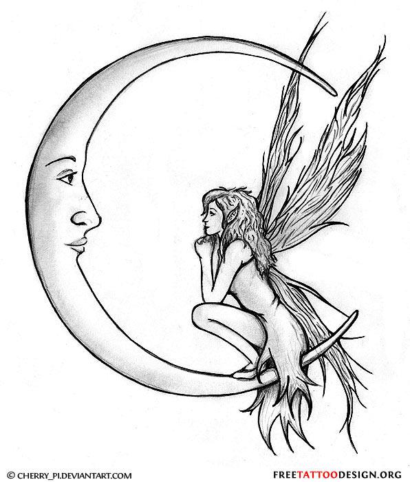 Stunning Moon Fairy Tattoo Design For Girls
