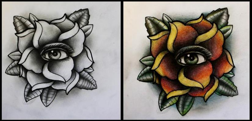 Stunning Rose With Eye Tattoo Design For Boys
