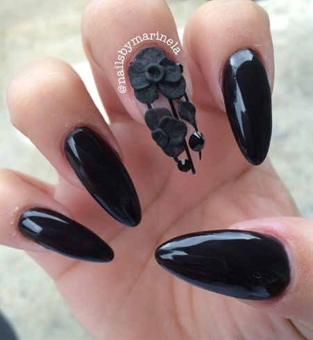 Stunning Stiletto Nails With 3D Black Rose