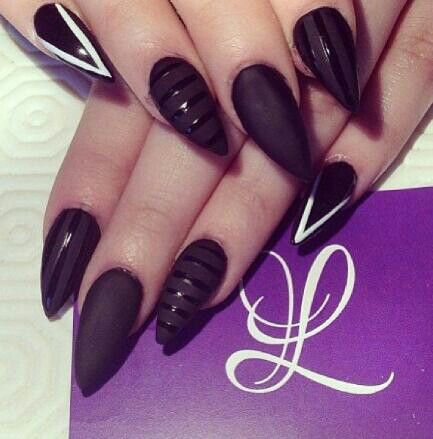 Stunning Stiletto Nails With Dark Brown Color