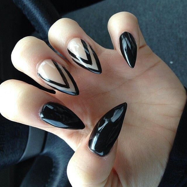 Stunning Stiletto Nails With Naked Nails Design