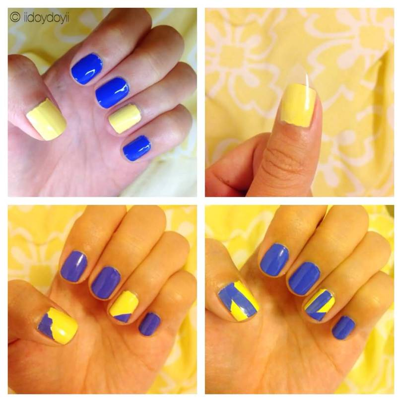 Stunning Yellow And Blue Nails With Different Designs