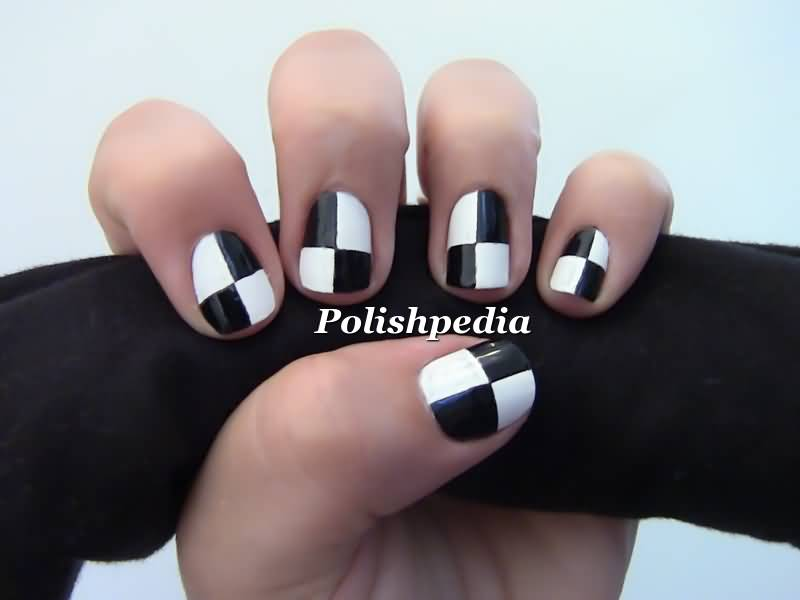 Stylish White And Black Nail Art With Boxes Type Design