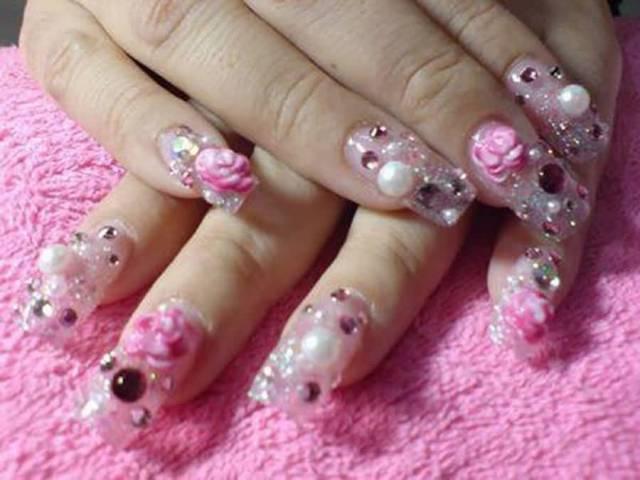 Superb Crystal With Pink Color Flower 3D Rose Flower Nail Art