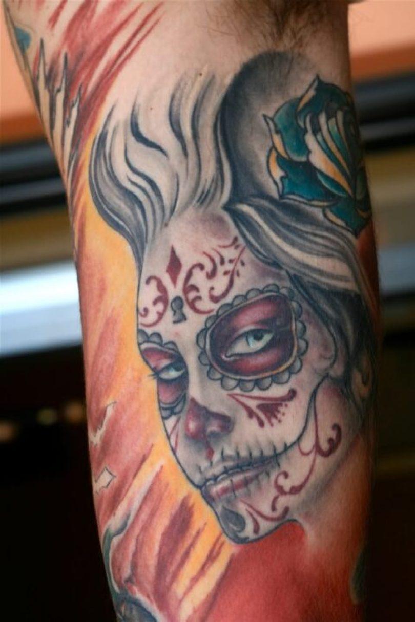 Superb Dia De Los Metros Girl Face Tattoo Design For Boys
