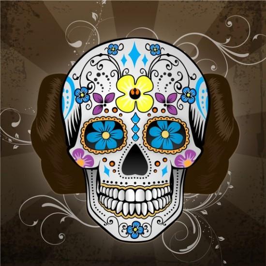 Superb Dia De Los Muertos Sugar Skull Tattoo Photo For Girls