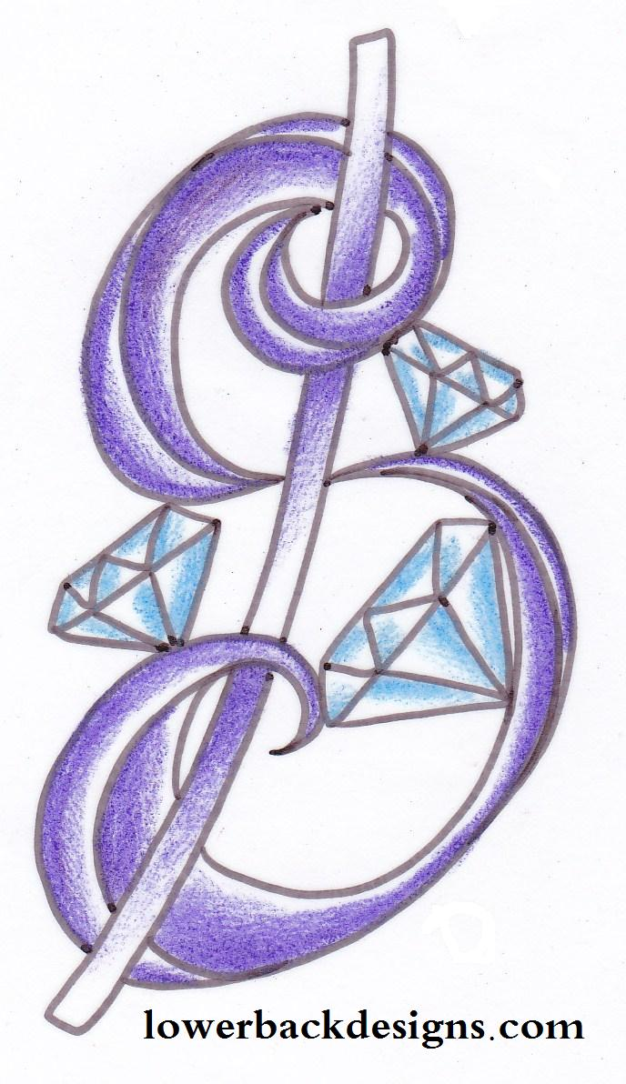Superb Diamond Tattoo Designs For Lower Back For Girls