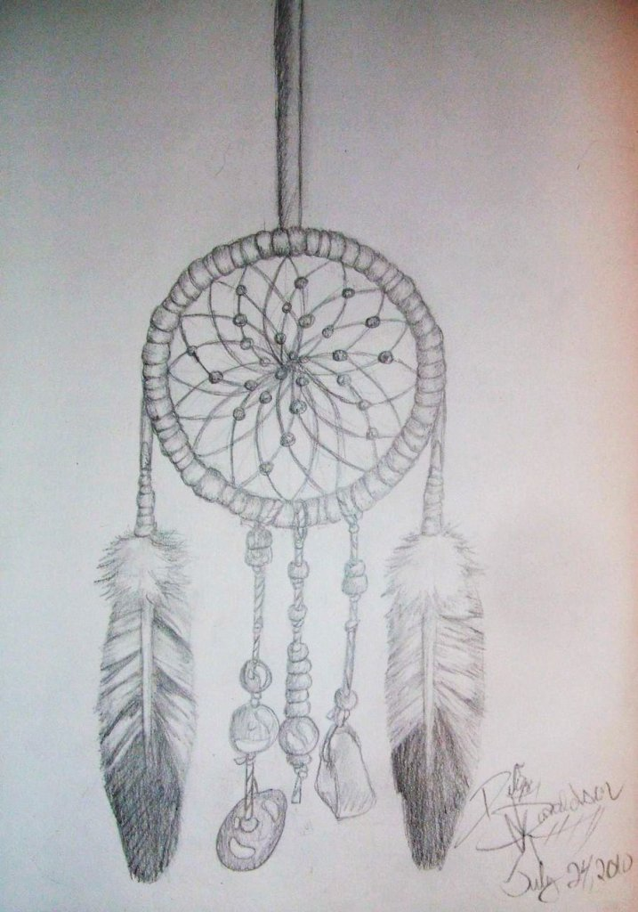 Superb Dream Catcher Tattoo Drawing For Girls