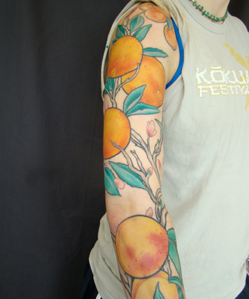 Superb Fruit Tattoo Design On Arm For Boys