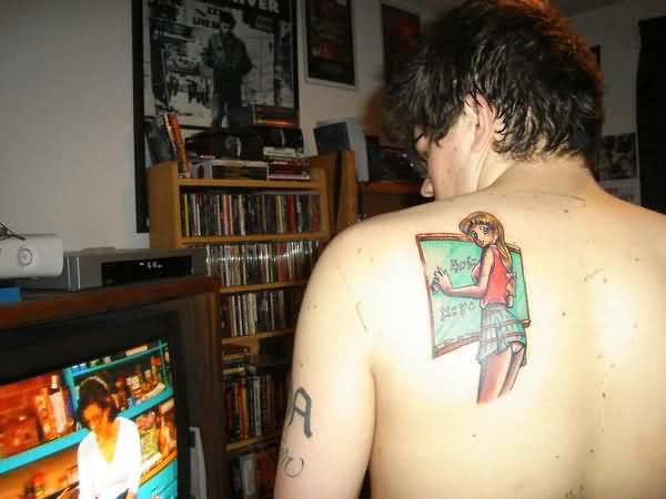 Superb Geek Tattoo On Back Of Shoulder For Boys