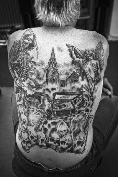 Superb Graveyard Tattoo Design On The Back Boys