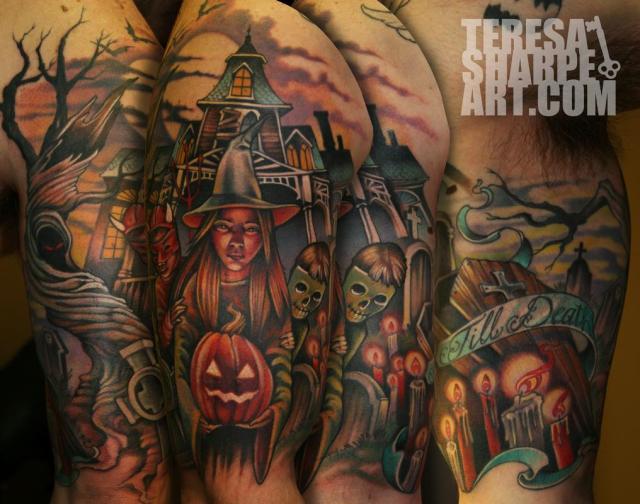 Superb Halloween Horror Tattoo Design For Boys