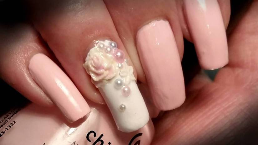 Superb Pink Color Design 3D Rose Flower Nail Art