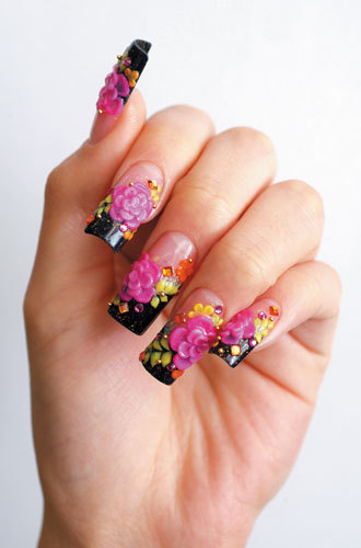 Superb Pink Flower With Black tip 3D Nail Art