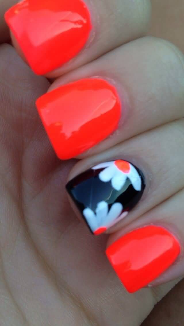 Superb Red And Black Paint Accent Nail Art