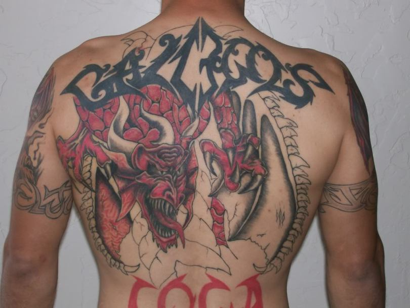 Superb Red Black Dragon Tattoo For Boys
