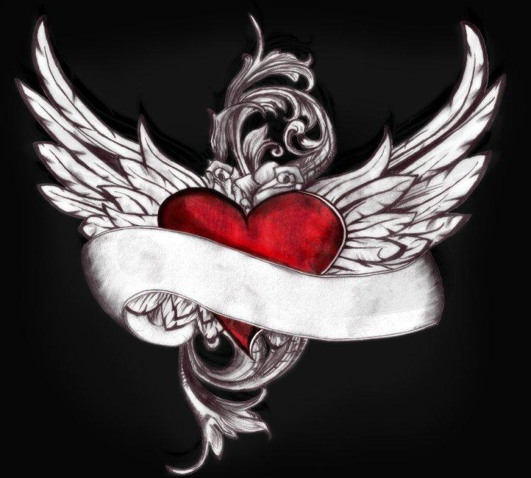 Superb Winged Heart Tattoo Design Over Black Background For Girls