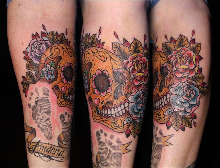Sweet Dia De Los Muertos Skull n Roses Tattoo Design For Girls