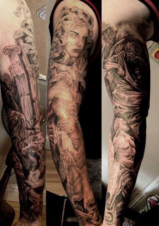 Sweet Greek Mythology Sleeve Tattoo Design For Boys