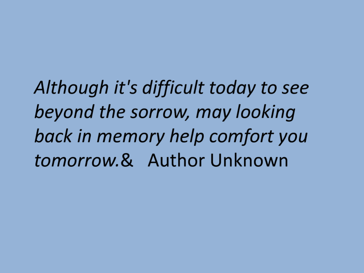 Sympathy Quotes although it's difficult today to see beyond the sorrow, may looking back in memory help comfort you tomorrow....