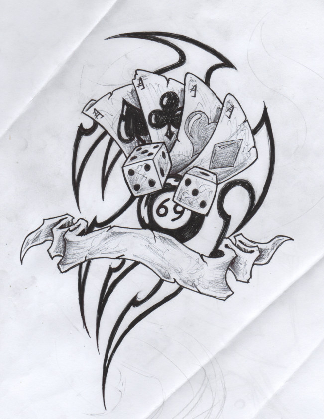 Terrific Gambling Cards Dice n 8 Ball Tattoo Drawing For Girls