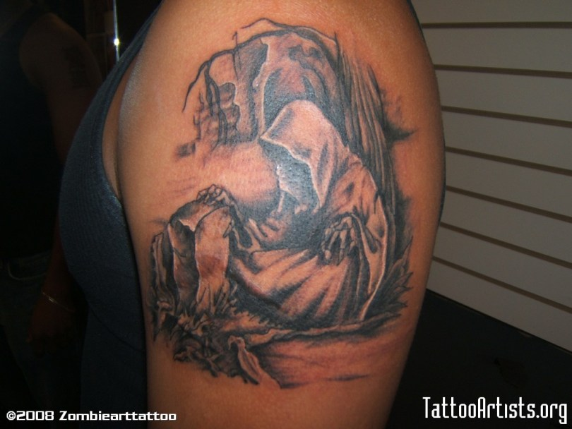 Terrific Graveyard Grim Reaper Tattoo On Shoulder For Boys