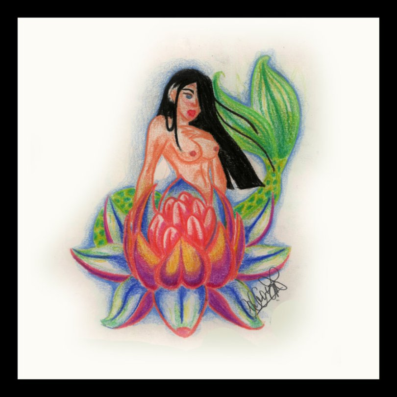 Terrific Lotus Mermaid Tattoo Image For Boys