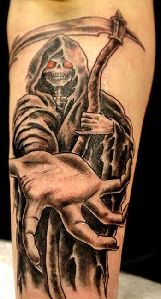 Terrific Red Eyed Grim Reaper Tattoo On Arm For Boys