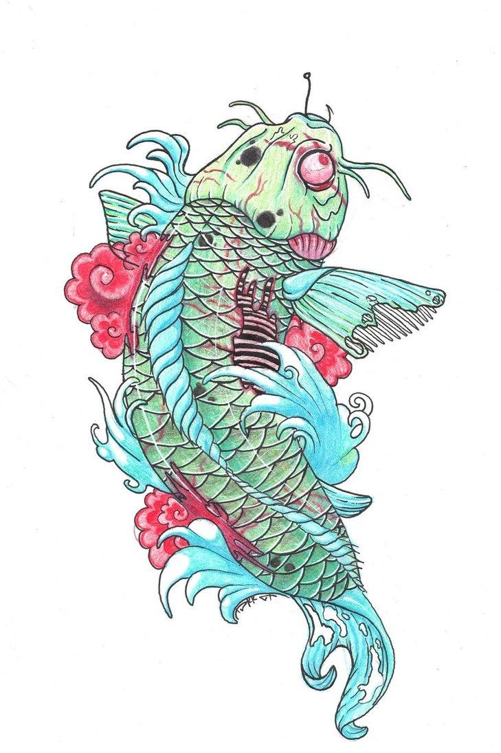Terrific Zombie Koi Fish Tattoo Sample For Girls