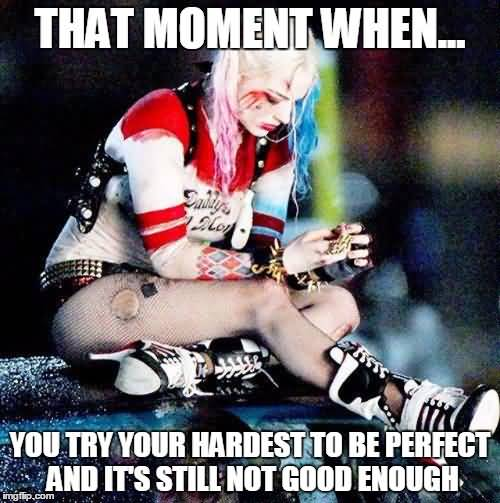 That Moment When You Try Your Hardest To Be Perfect Harley Quinn Memes
