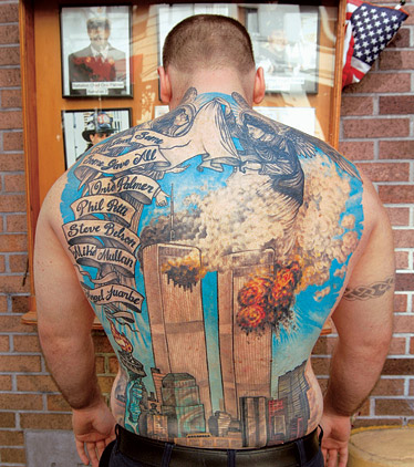 Traditional Firefighter Tattoo On Full Back For Boys