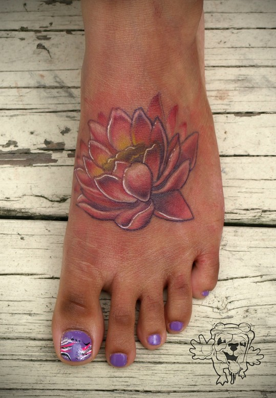 Traditional Foot Lotus Tattoo Design For Girls