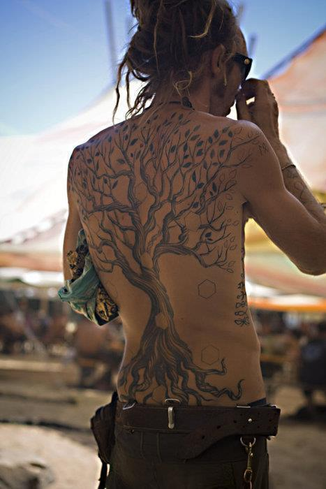 Traditional Hippie Tree Tattoo On Back For Men