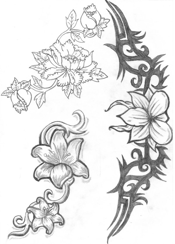 Traditional Uncolored Flower Tattoo Designs For Boys
