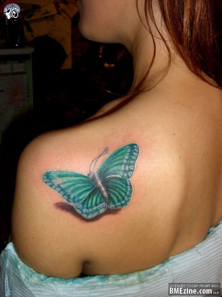 Traditional Feminine Butterfly Tattoo On Back Shoulder For Girls