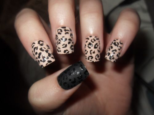 Tremendous Black And Beige Nail Art With One Full Black And Leopard Design