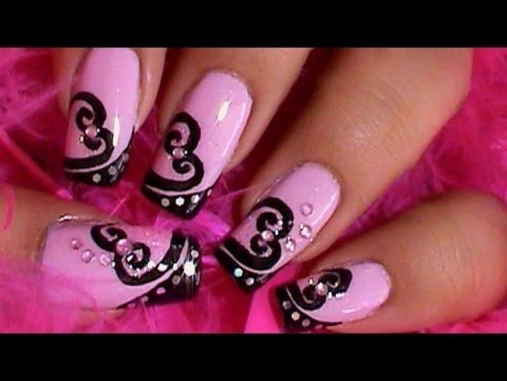 Tremendous Black And Pink Nails With Black Color Heart Shape Design