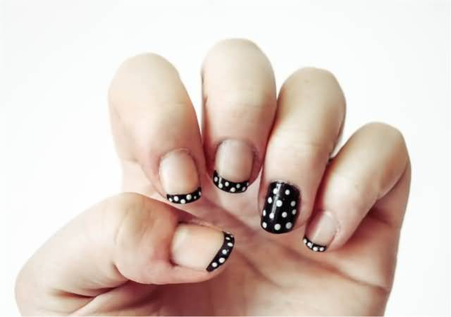Tremendous Black And White Polka Dot Nail Art With One Tip And One full