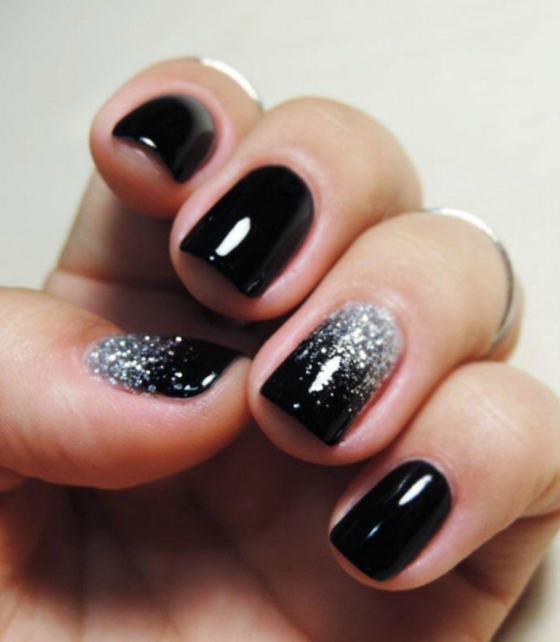 Tremendous Black Nail Art Design With Silver Color Paint